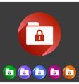 Secure locked folder icon flat web sign symbol vector image