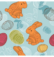 background with rabbit and eggs vector image vector image