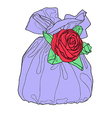 Gift bag with flower decoration vector image