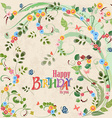 Cute invitation card with birds on floral branch vector image vector image