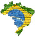 Brazil map on a brick wall vector image
