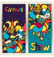 Carnival show banners with doodle icons and vector image