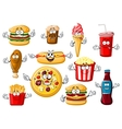 Cartoon fast food desserts and drinks vector image