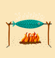 fish in the spit vector image