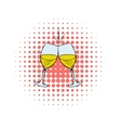 Glasses of white wine comics icon vector image