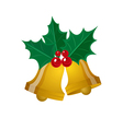 merry christmas leaf with golden bell vector image