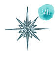 nautical marine wind rose compass icon for travel vector image