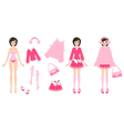 Paper Doll with Clothes in Pink vector image