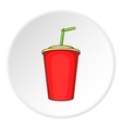 Plastic cup with straw icon cartoon style vector image