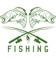 vintage fishing design template with largemouth vector image