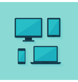 Flat computer and mobile devices set over blue vector image