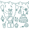 birthday sketches vector image vector image