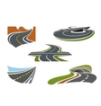 Modern highways roads and freeways icons vector image