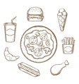Fast food in sketch style vector image