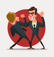 businessmen characters fight vector image