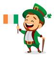 cartoon funny leprechaun with irish flag and cane vector image