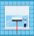 cleaning window tool squeegee spray bottle vector image