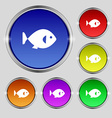 fish icon sign Round symbol on bright colourful vector image