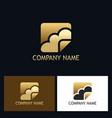 gold cloud technology logo vector image