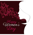 happy womens day girl silhouette vector image