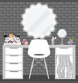 with make-up table chair vector image