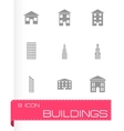black buildings icon set vector image vector image