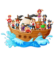 group of pirate on the ship vector image