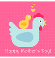 Hen And Chickens Mothers Day vector image