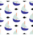 sailboat and fish seamless child pattern in vector image