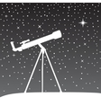 Silhouette of telescope on the night sky vector image
