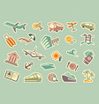 travel icons on stickers vector image