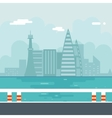 River Water Sea Modern City Background Flat Design vector image vector image