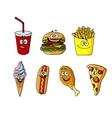 Set of happy cartoon takeaway food icons vector image