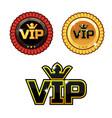 black vip symbol and gold award ribbons vector image