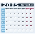 Calendar 2015 November design template vector image