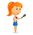 Cartoon girl female reporter holding microphone vector image