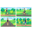 cyclists and sunny day posters vector image