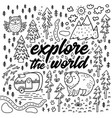 explore the world cartoon contour map comic vector image