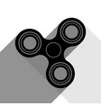fidget spinner sign black icon with two vector image