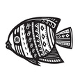Fish with ornaments in the ethnic style vector image