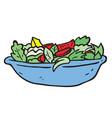 freehand drawn cartoon salad vector image