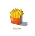 french fries in a red box fast food icon vector image