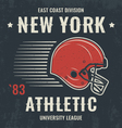 new york t shirt with football helmet vector image