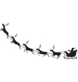 Santa Claus riding on a reindeer sleigh vector image