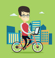 business man riding bicycle in the city vector image