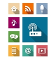 Set of flat media and communication icons vector image vector image