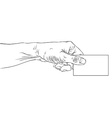 Hand giving business card detailed black and white vector image