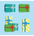 3D Gift Boxes Presents With Silver Ribbon Bow vector image