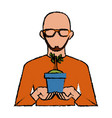 businessman avatar cartoon holding savings vector image