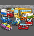 car vehicles cartoon characters group vector image